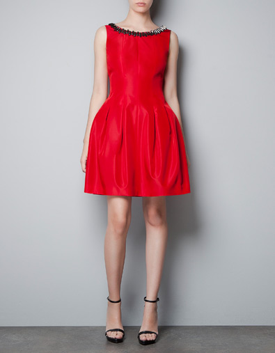 Red Dress with jeweled collar