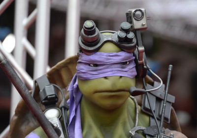 "A statute of Donatello is seen at the premiere of ""Teenage Mutant Ninja Turtles"" on August 3, 2014 at the Regency Village Theater in Los Angeles.   AFP PHOTO / Robyn Beck        (Photo credit should read ROBYN BECK/AFP/Getty Images)"