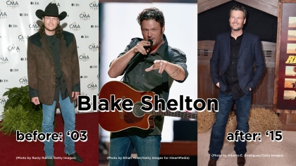 Left: (Photo by Rusty Russell/Getty Images) Middle: LAS VEGAS, NV - SEPTEMBER 19: Singer Blake Shelton performs onstage at the 2015 iHeartRadio Music Festival at MGM Grand Garden Arena on September 19, 2015 in Las Vegas, Nevada. Right: (Photo by Alberto E. Rodriguez/Getty Images)
